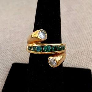Ross-Simons gold, diamond, & emerald bypass ring
